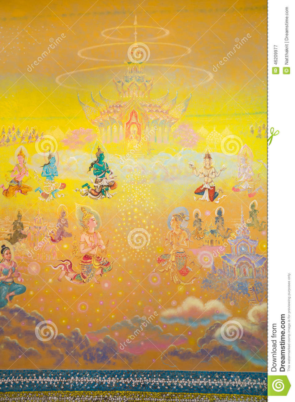 Watercolor art history - Watercolor Art Of History Of Buddhism On Sanctuary Wall Stock Photo