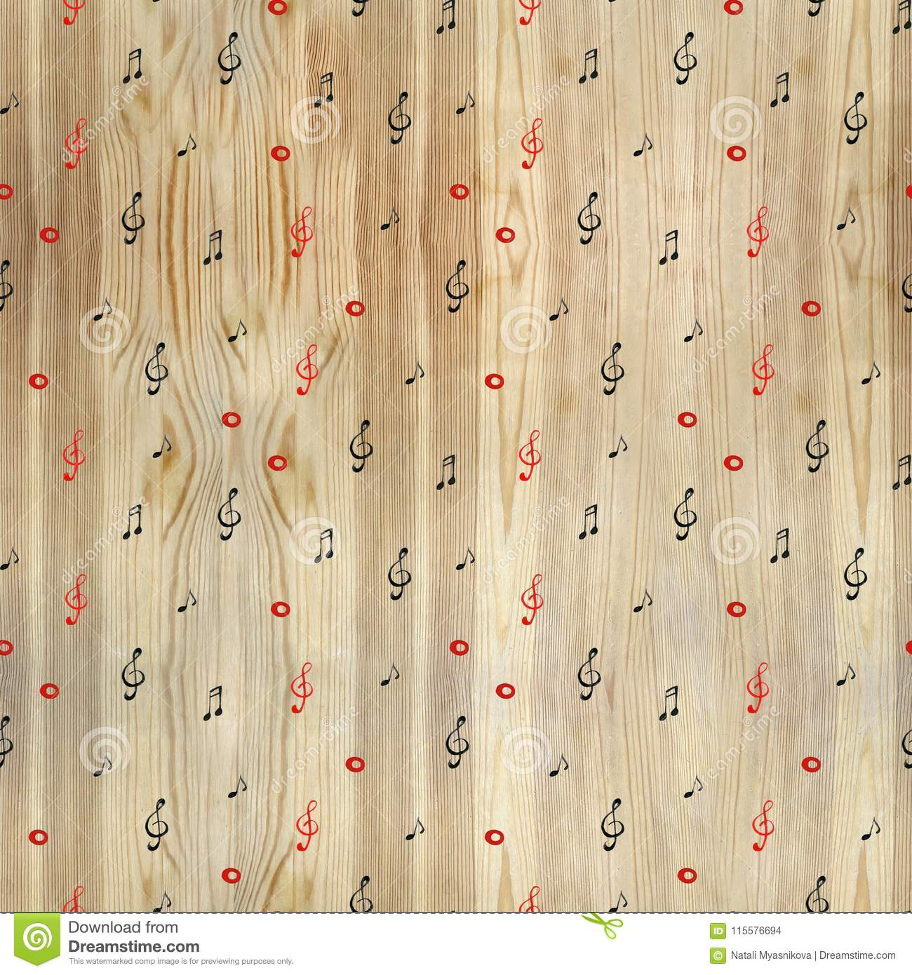 Watercolor artistic music background - seamless pattern with notes