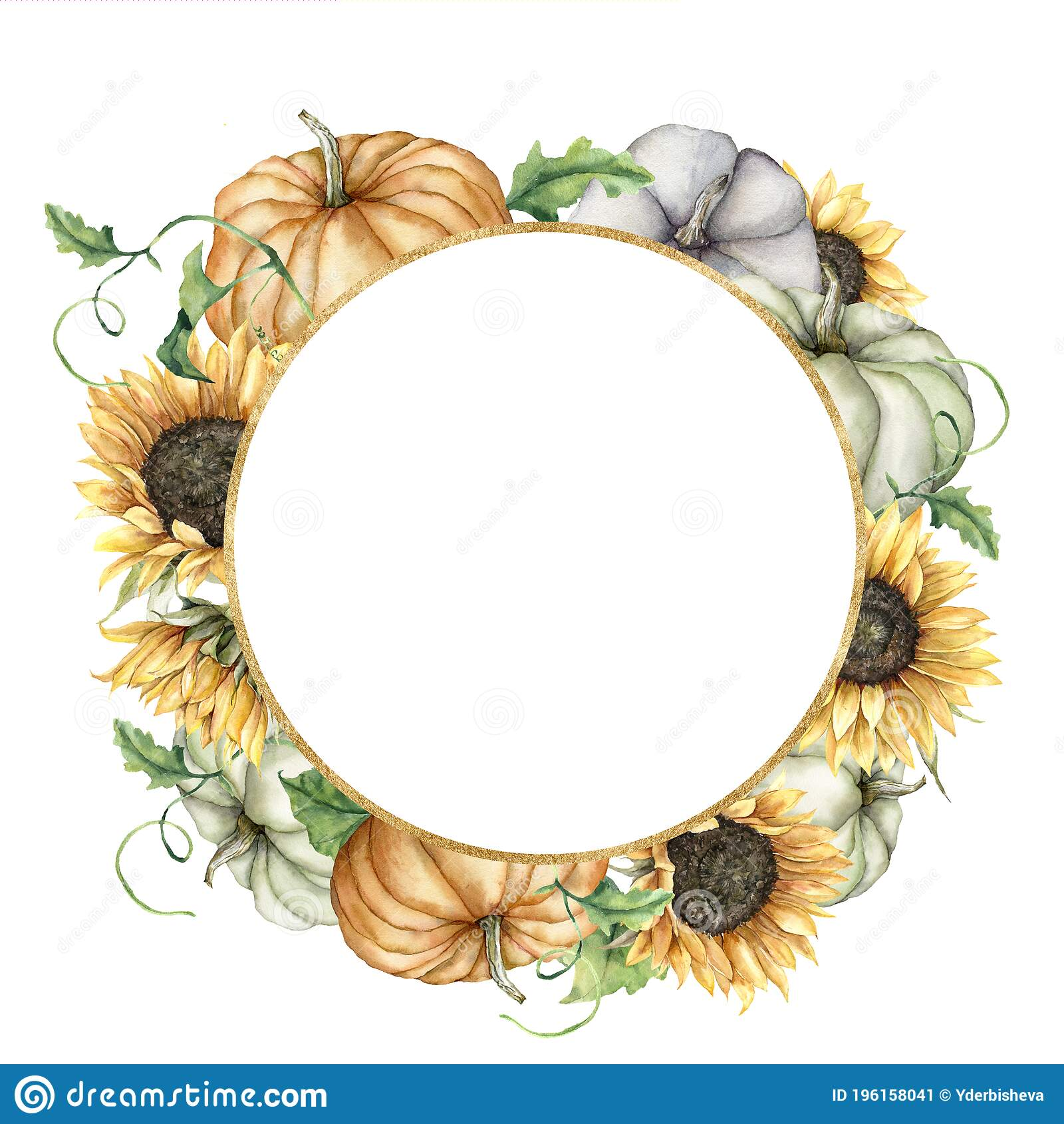 Watercolor Leaves Autumn Circle Stock Illustrations – 20,0204 ...