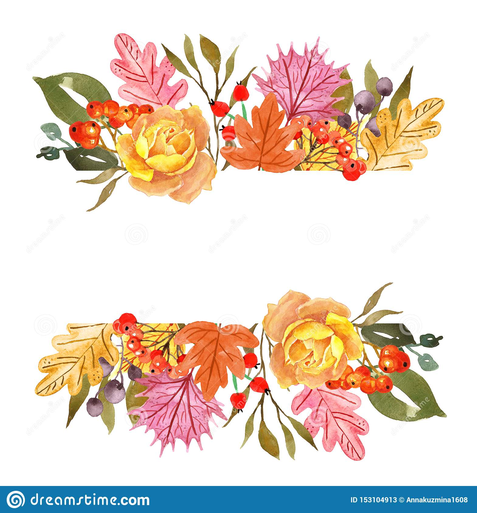 Watercolor autumn leaves and plants banner, isolated on white background. Fall floral border for cards, invitations.
