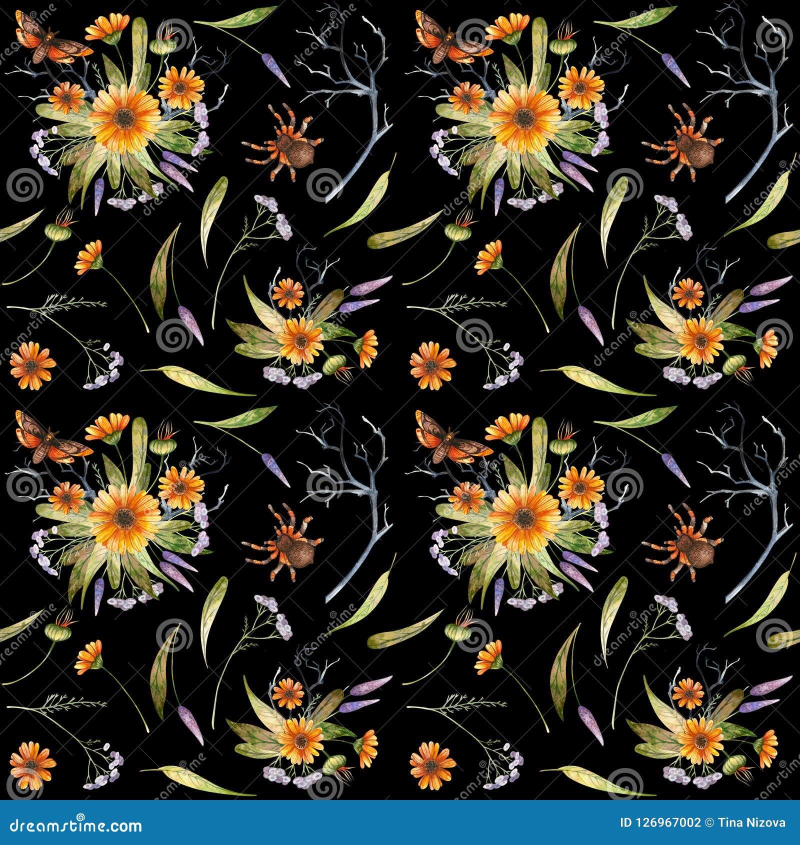 Watercolor Halloween pattern of flowers and butterflies