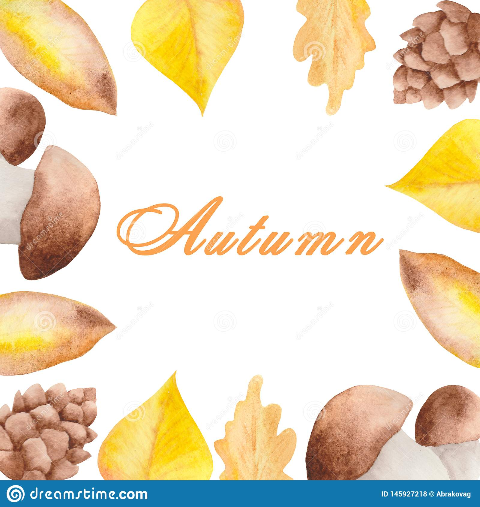 Watercolor autumn set of mushrooms, leaves on a white background