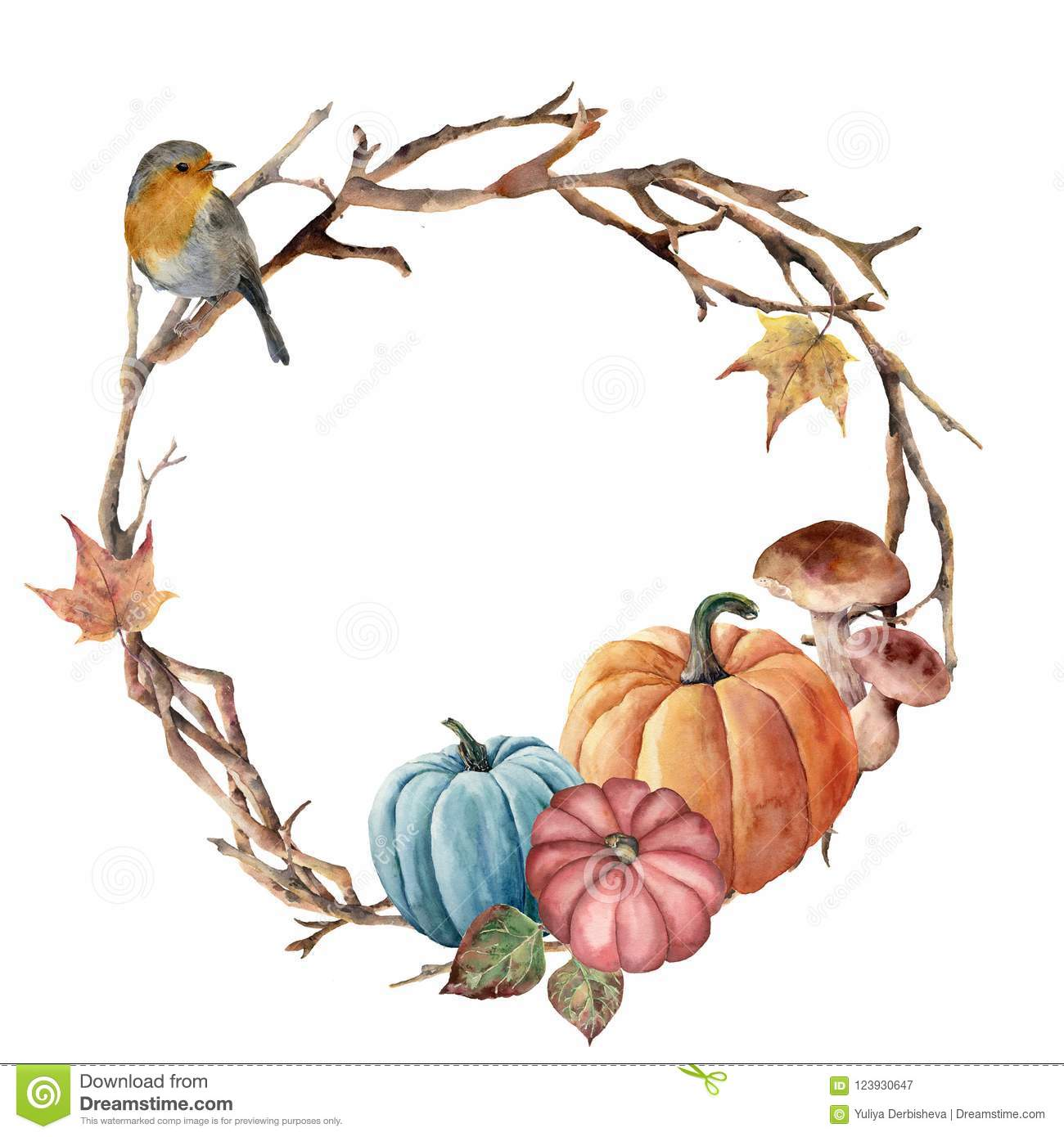 Watercolor Autumn Tree Branch Bird And Pumpkin Wreath Hand Painted Wreath With Robin Mushroom And Leaves On White Stock Illustration Illustration Of Blue Natural 123930647
