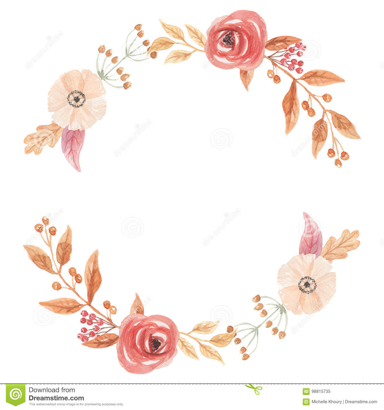 Watercolor Autumn Vintage Wreath Garland Frame Fall Leaves Circle