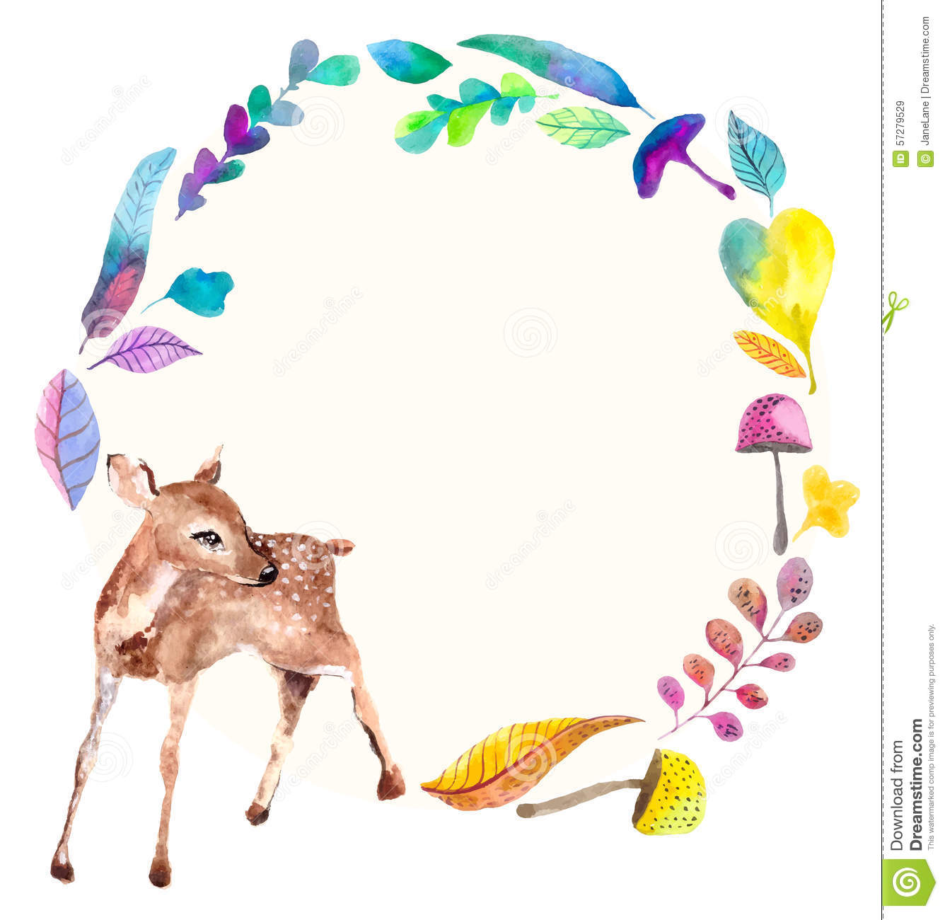 watercolor baby deer with floral elements stock vector
