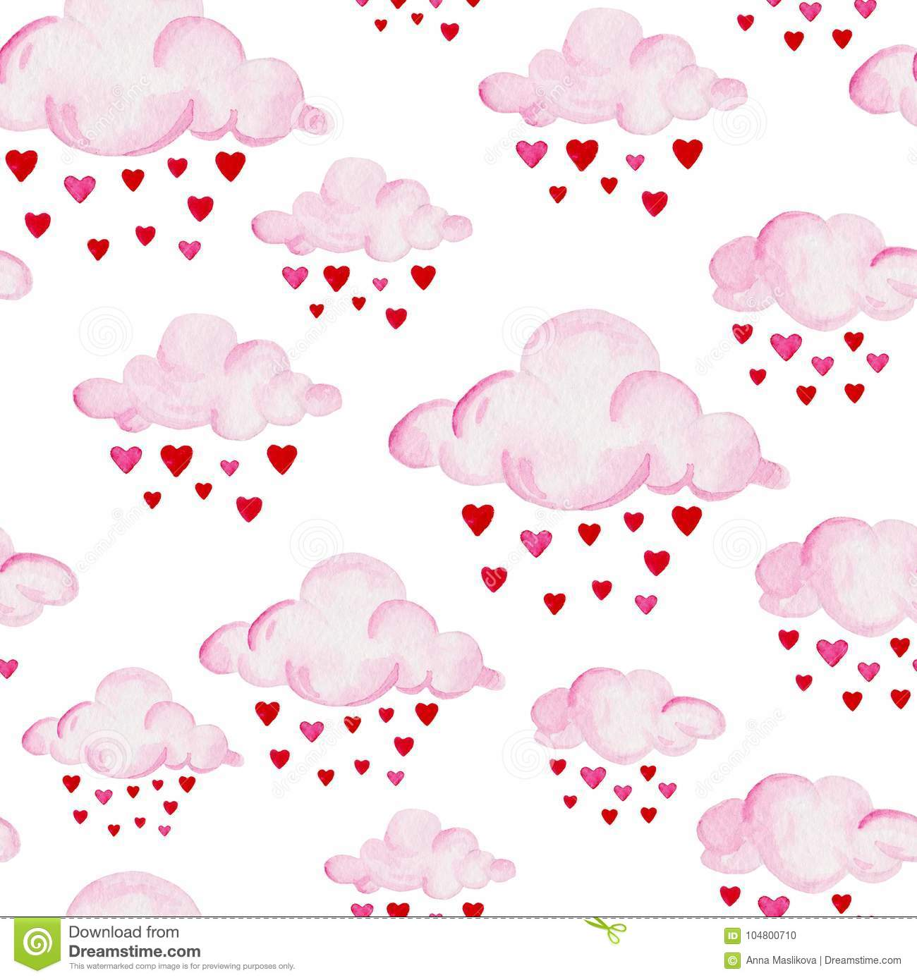 Watercolor Baby Shower Pattern Pink Clouds On The White Background