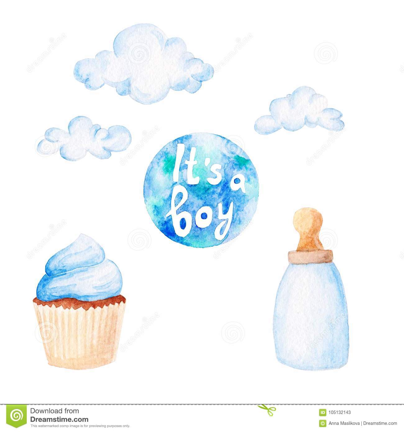 Watercolor baby shower set. Its a boy theme with clouds, baby bottle