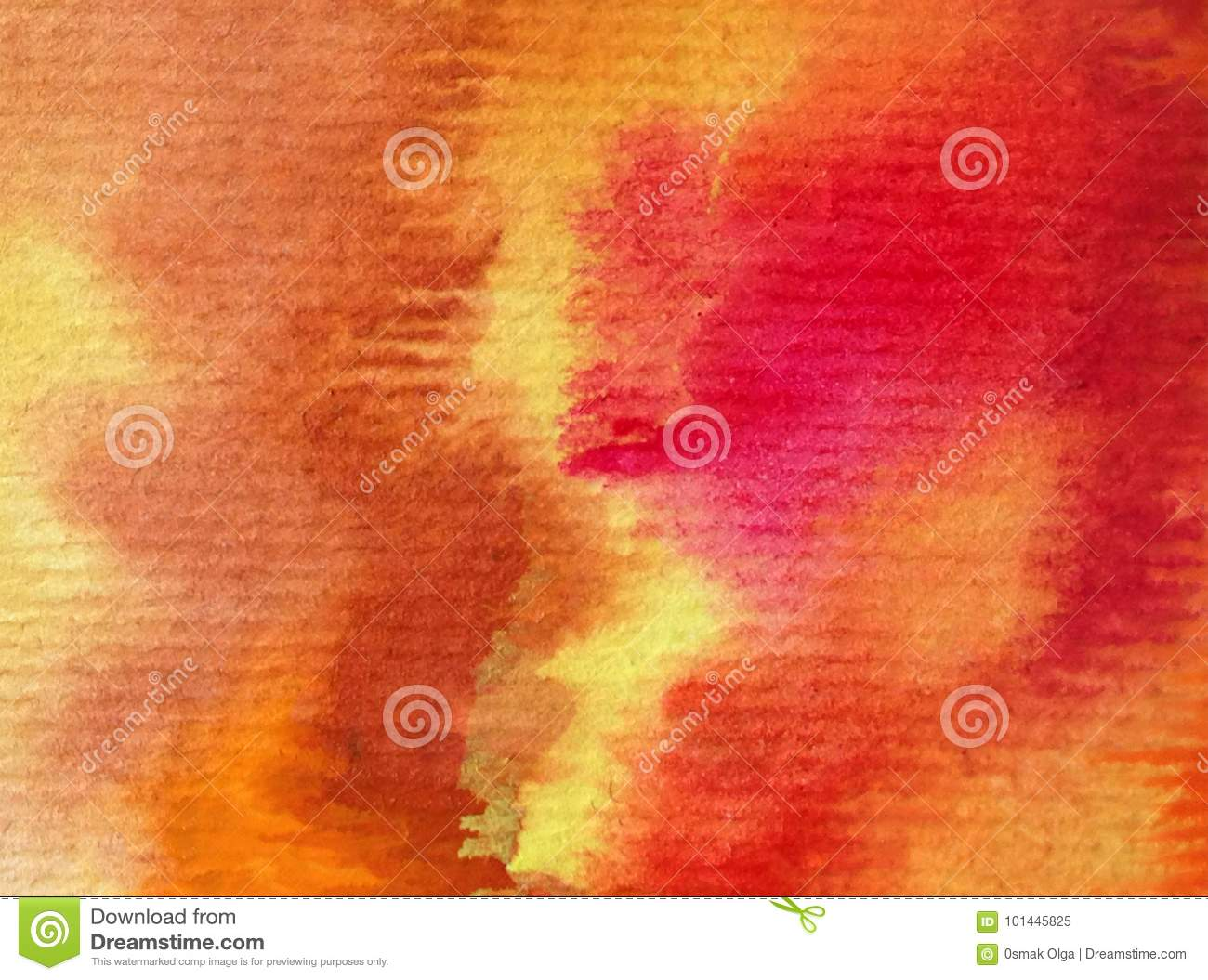 Watercolor art background abstract autumn colorful textured warm strokes