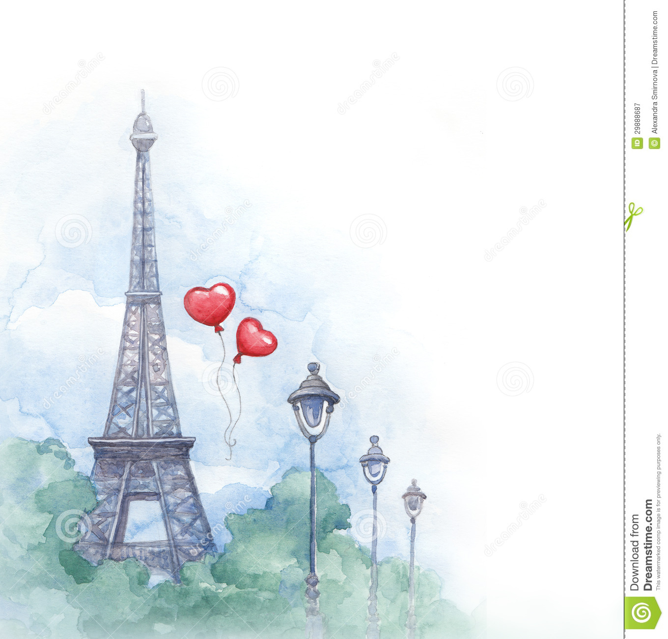 Watercolor Illustration Of Eiffel Tower Royalty Free Stock Photography ...