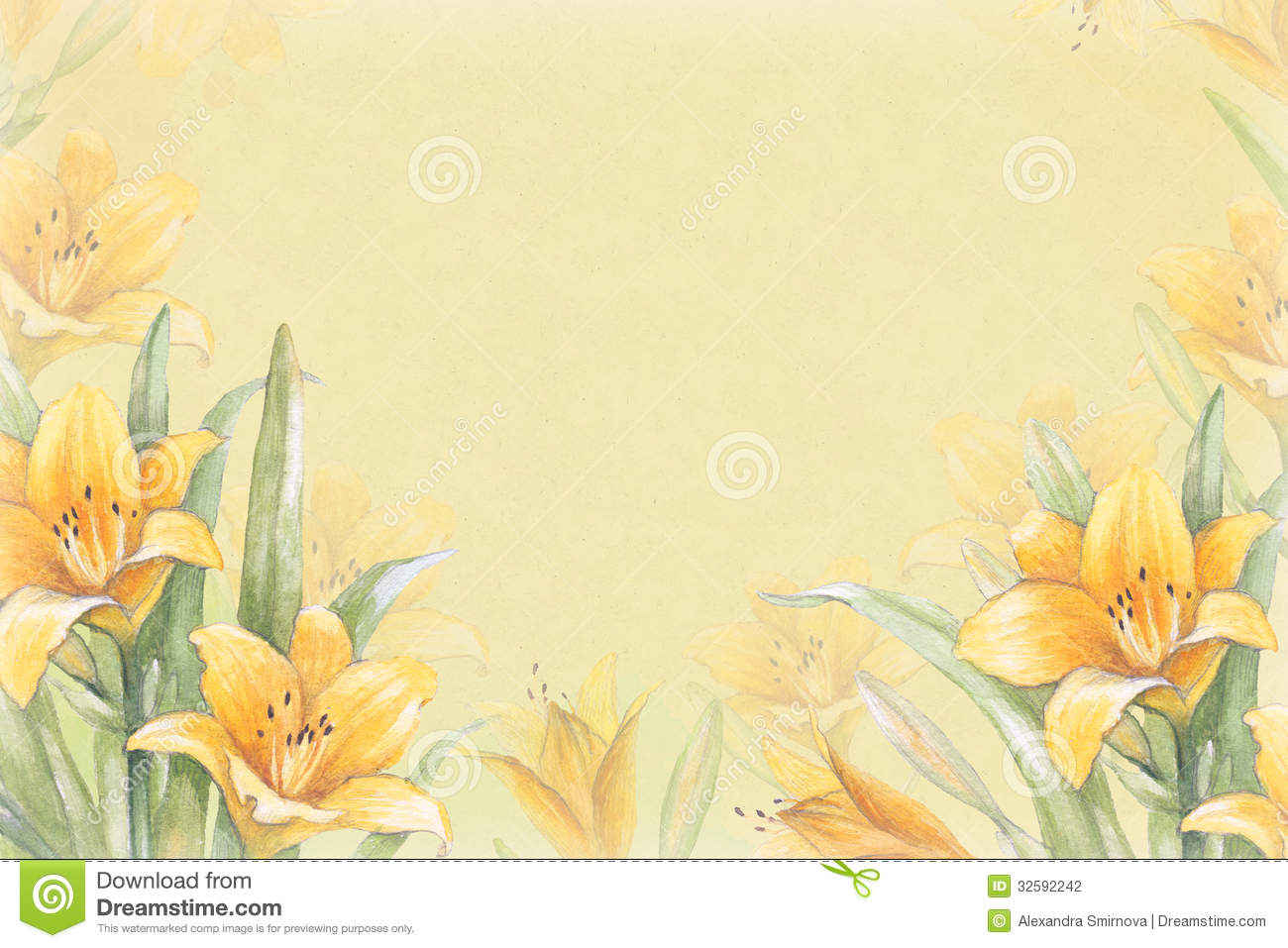 Watercolor background with illustration of lily flower stock royalty free stock photo m4hsunfo Images