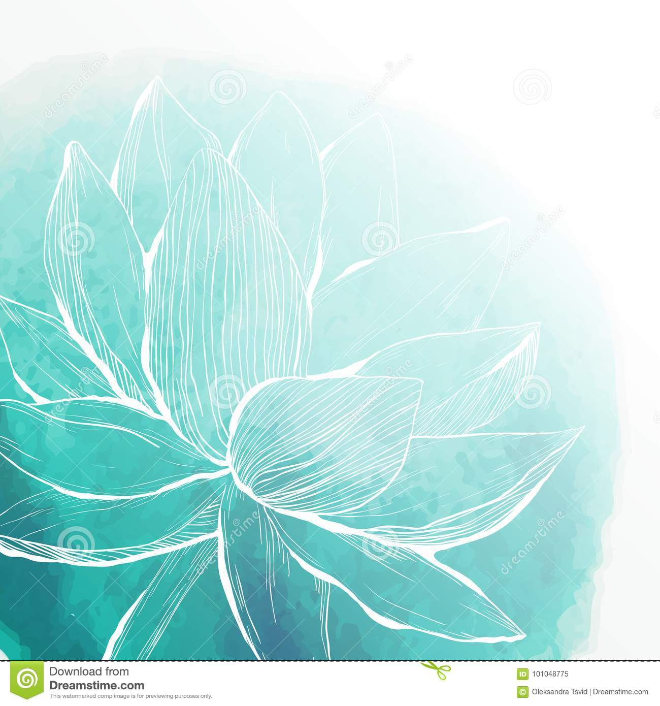 Watercolor Background With Lotus Flower Stock Vector Illustration