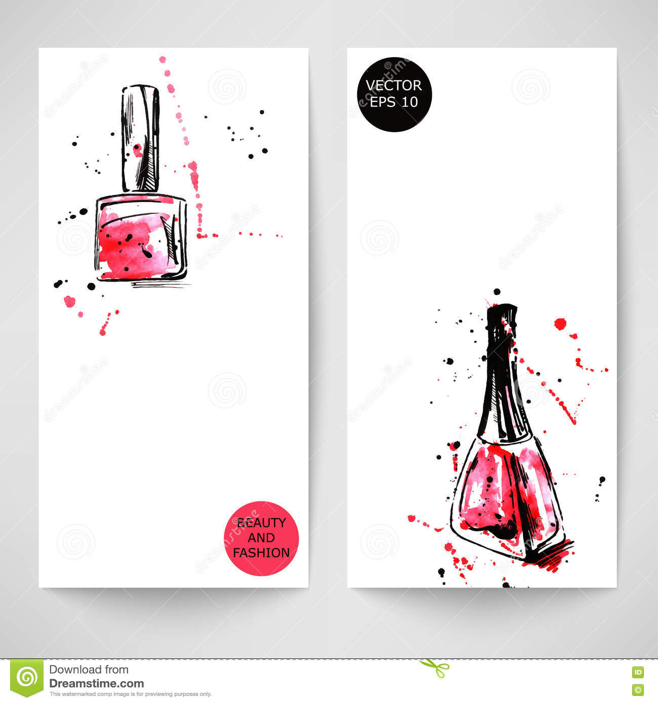 Watercolor Background With Nail Polish. Stock Vector