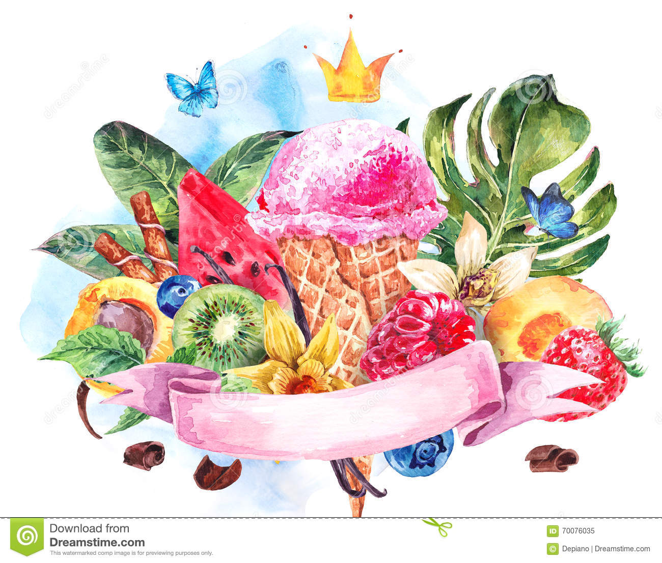 Watercolor Background With Soft Italian Ice Cream Stock ...