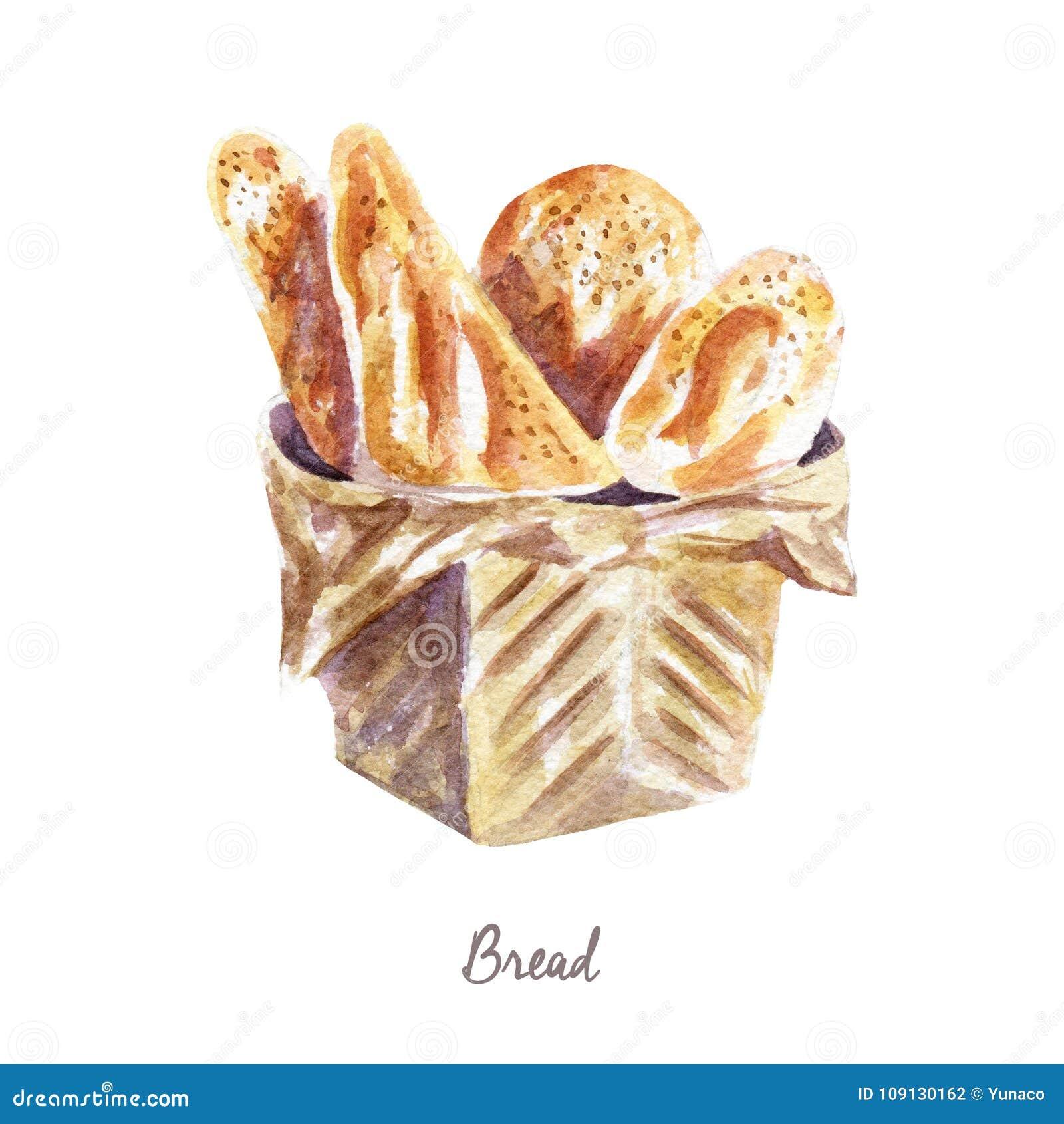 Watercolor Bread Stock Illustrations 4 631 Watercolor Bread Stock Illustrations Vectors Clipart Dreamstime