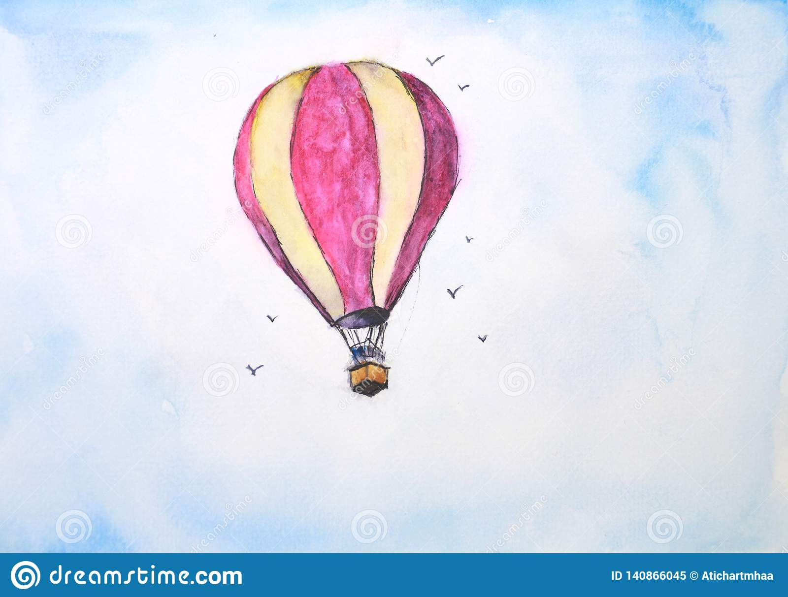 Watercolor balloon in the sky with clouds