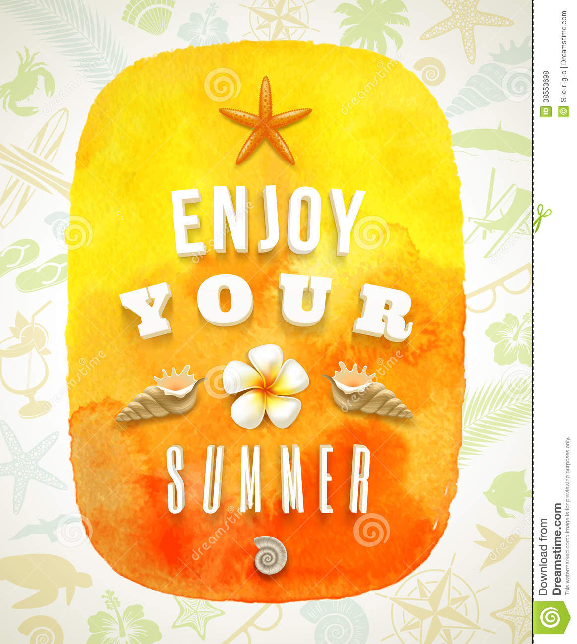 Watercolor banner with summer greeting on ...