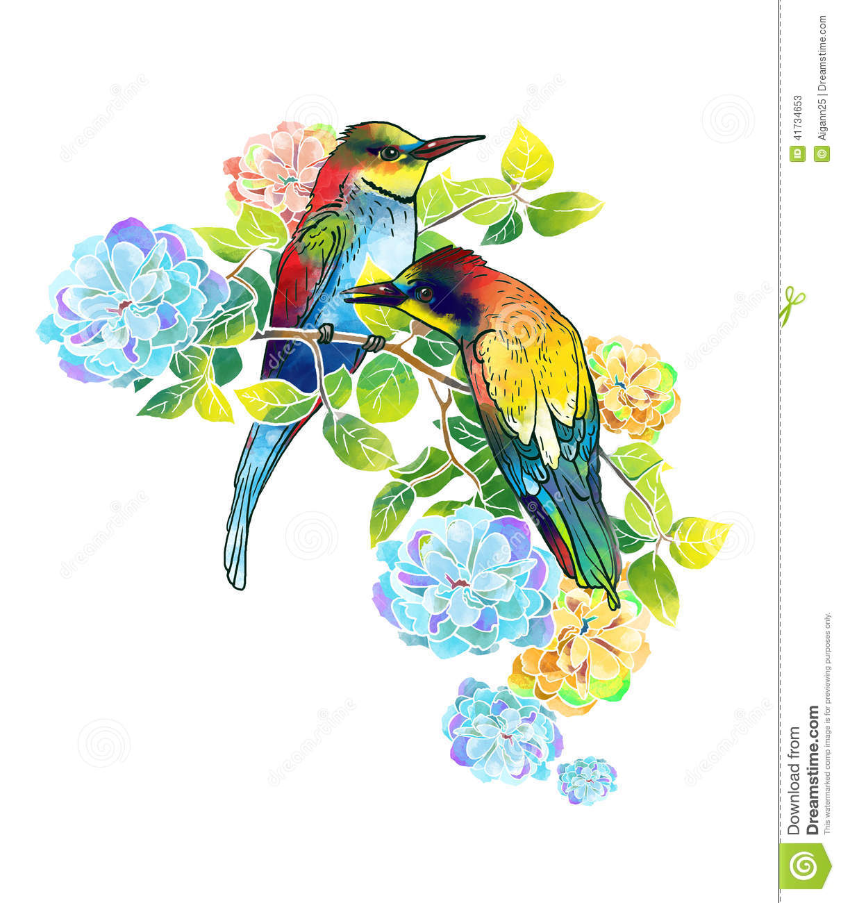 Watercolor Beautiful Birds And Delicate Flowers Stock