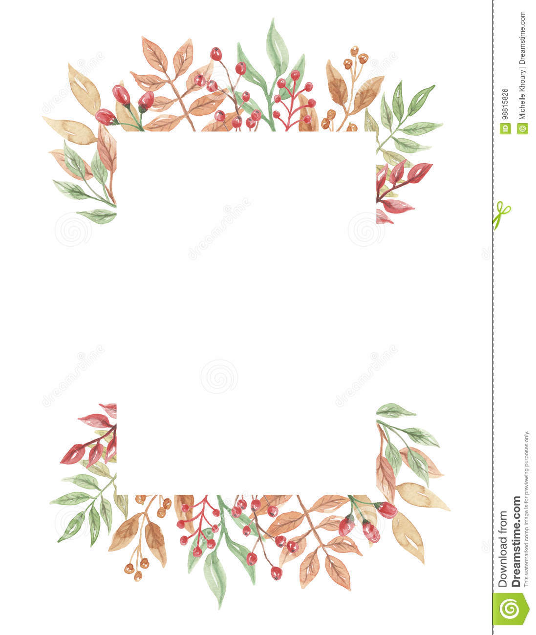 Watercolor Berries Frame Header Autumn Fall Leaves Flowers Berry