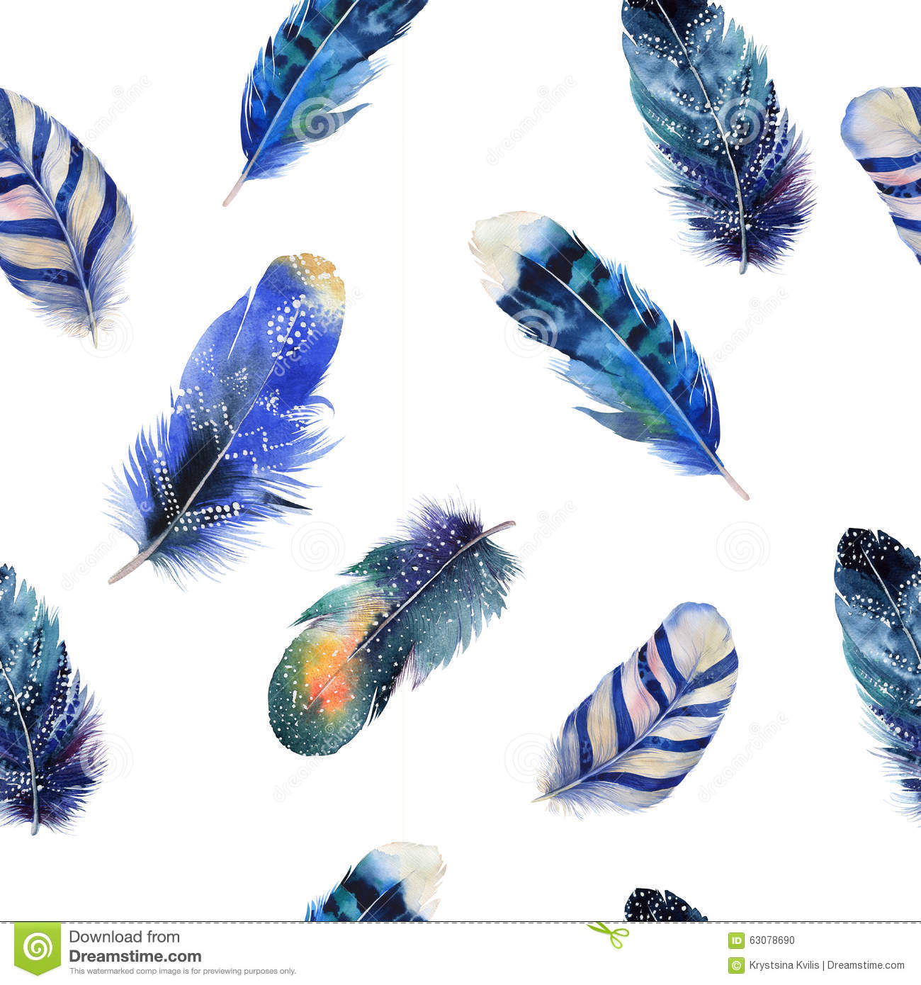 watercolor birds feathers boho pattern seamless stock illustrations