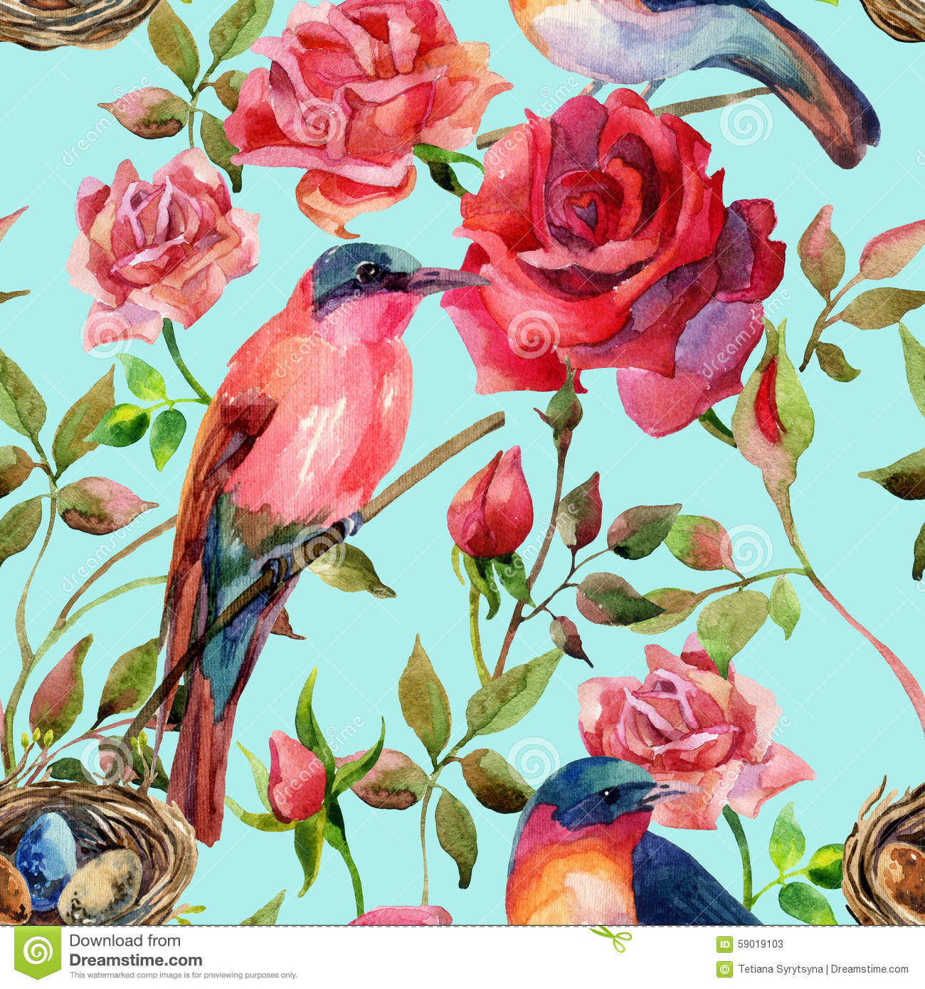 Watercolor Birds On The Pink And Red Roses Stock