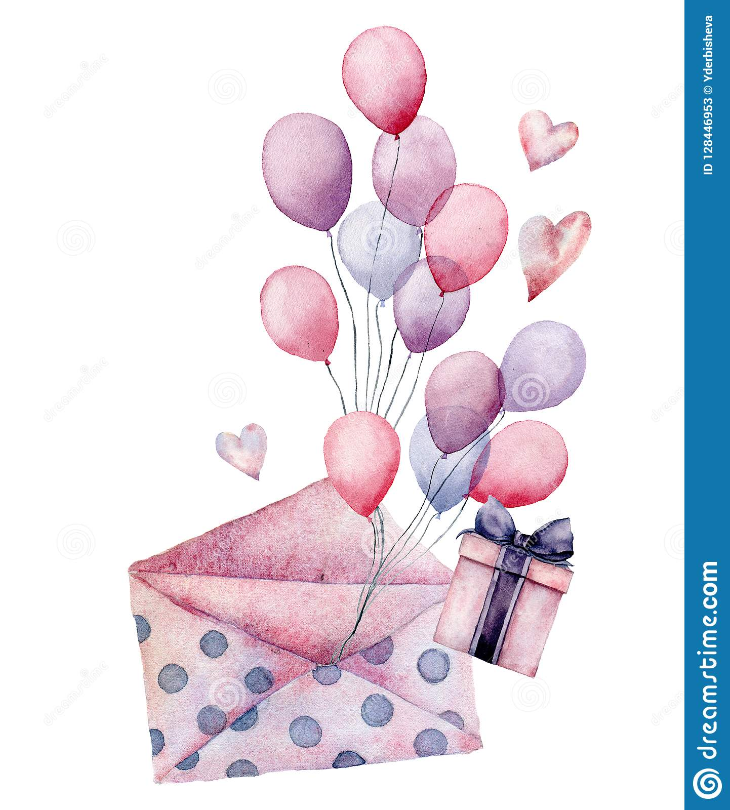 Watercolor Birthday Decor Card With Envelope Airballon Hand Painted Gift Boxes Air Balloons Isolated