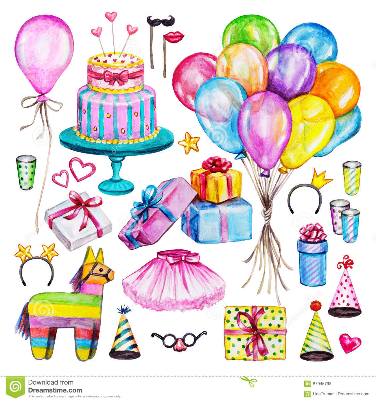 Sweets Birthday Clip Art Gifts Cupcakes Watercolor Birthday Party Balloons Bday Clipart Cake Watercolor Birthday Icons