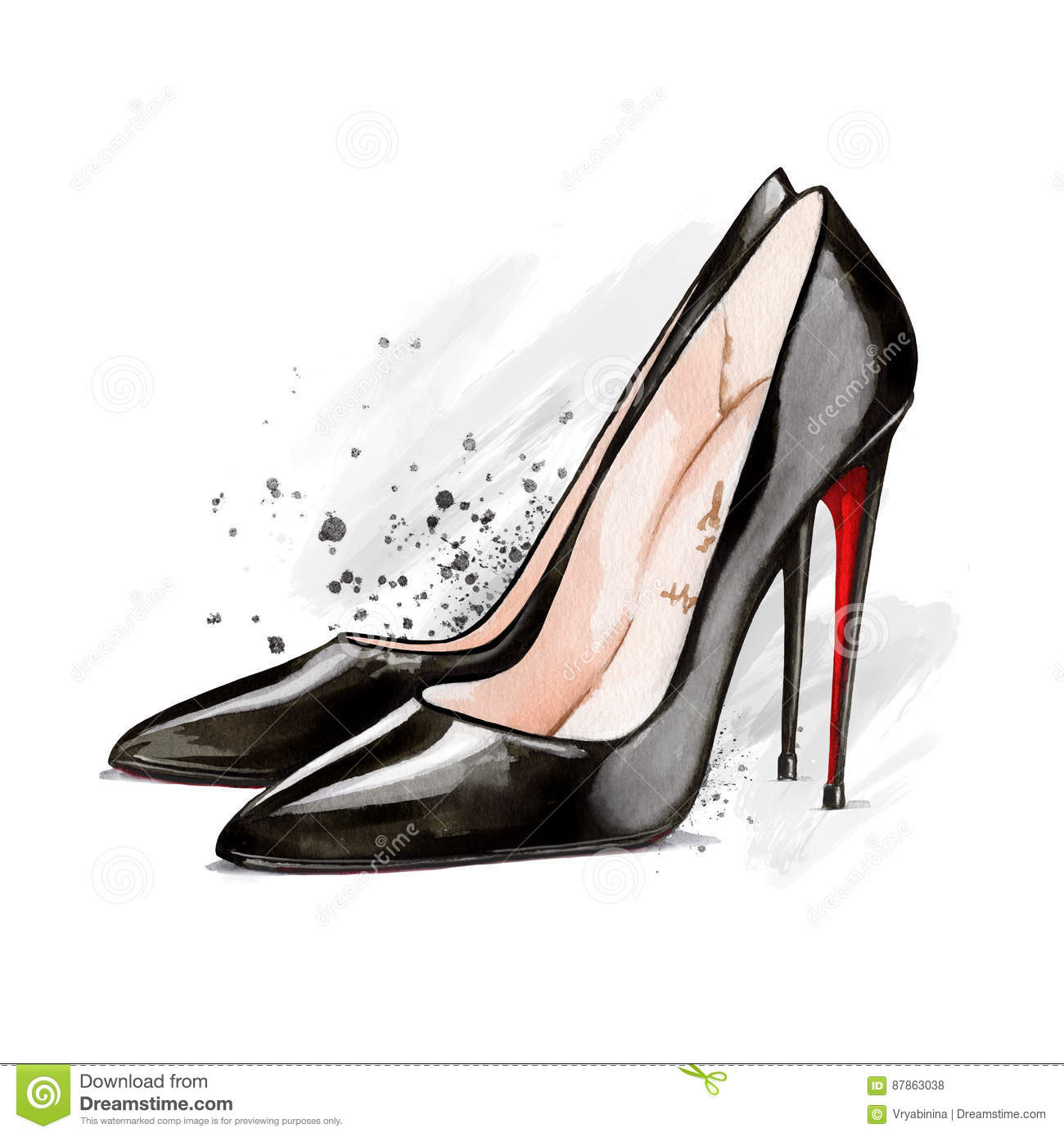 Watercolor Black High Heel Shoes Stock Illustration ...