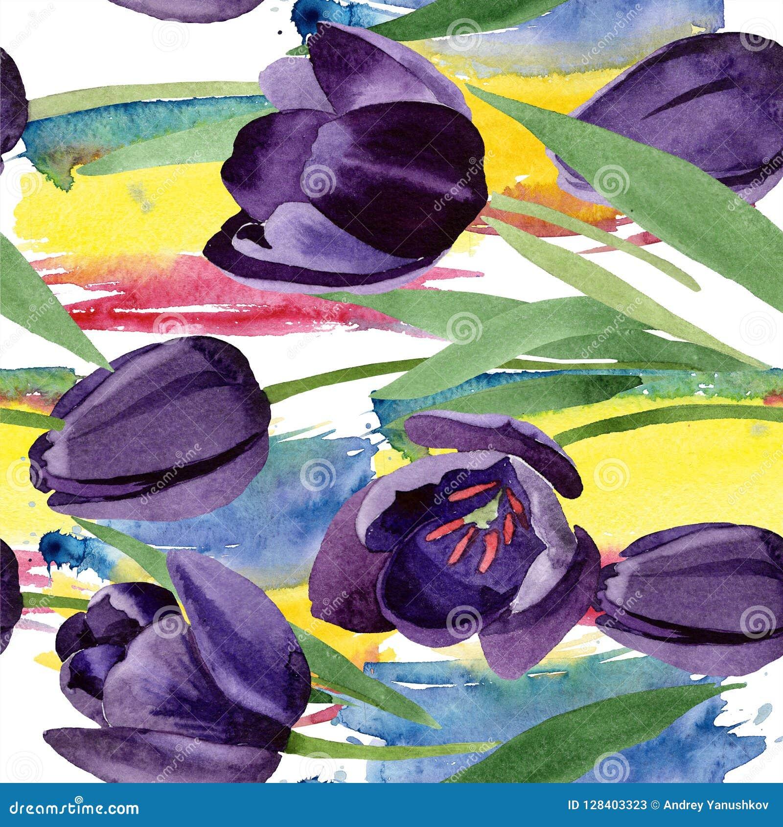 Watercolor black tulips flower. Floral botanical flower. Seamless background pattern.