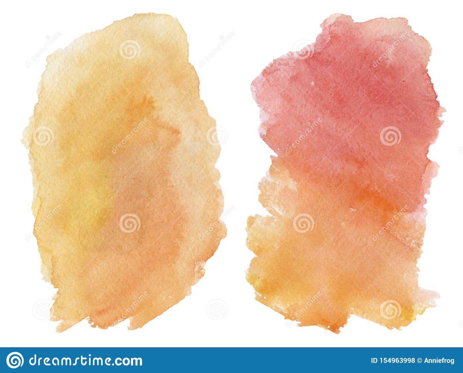 Watercolor blot isolated on white background. Red and orange gradient