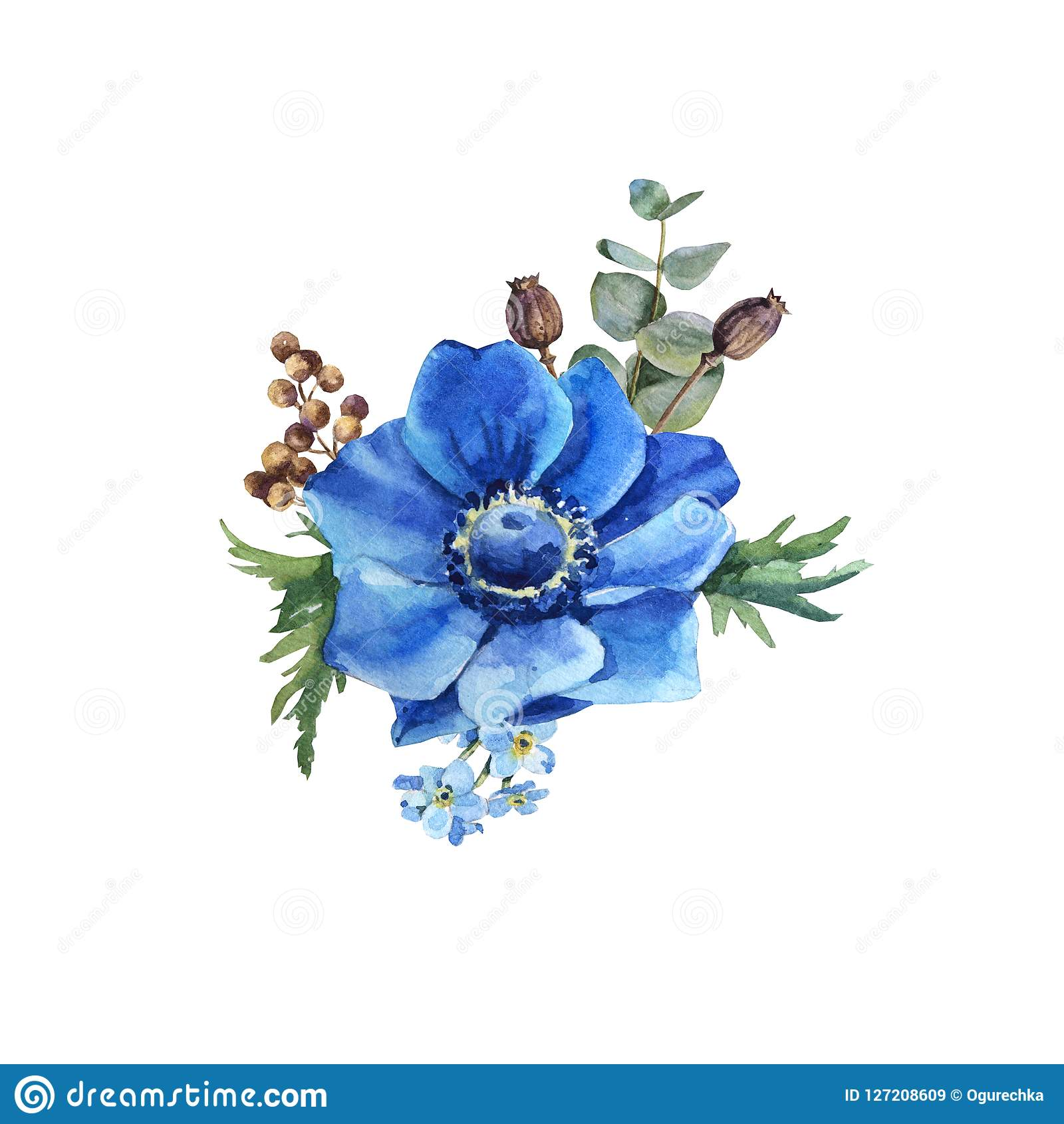Watercolor Blue Anemone Flower Bouquet With Leaves Stock Illustration Illustration Of Beauty Greenery 127208609