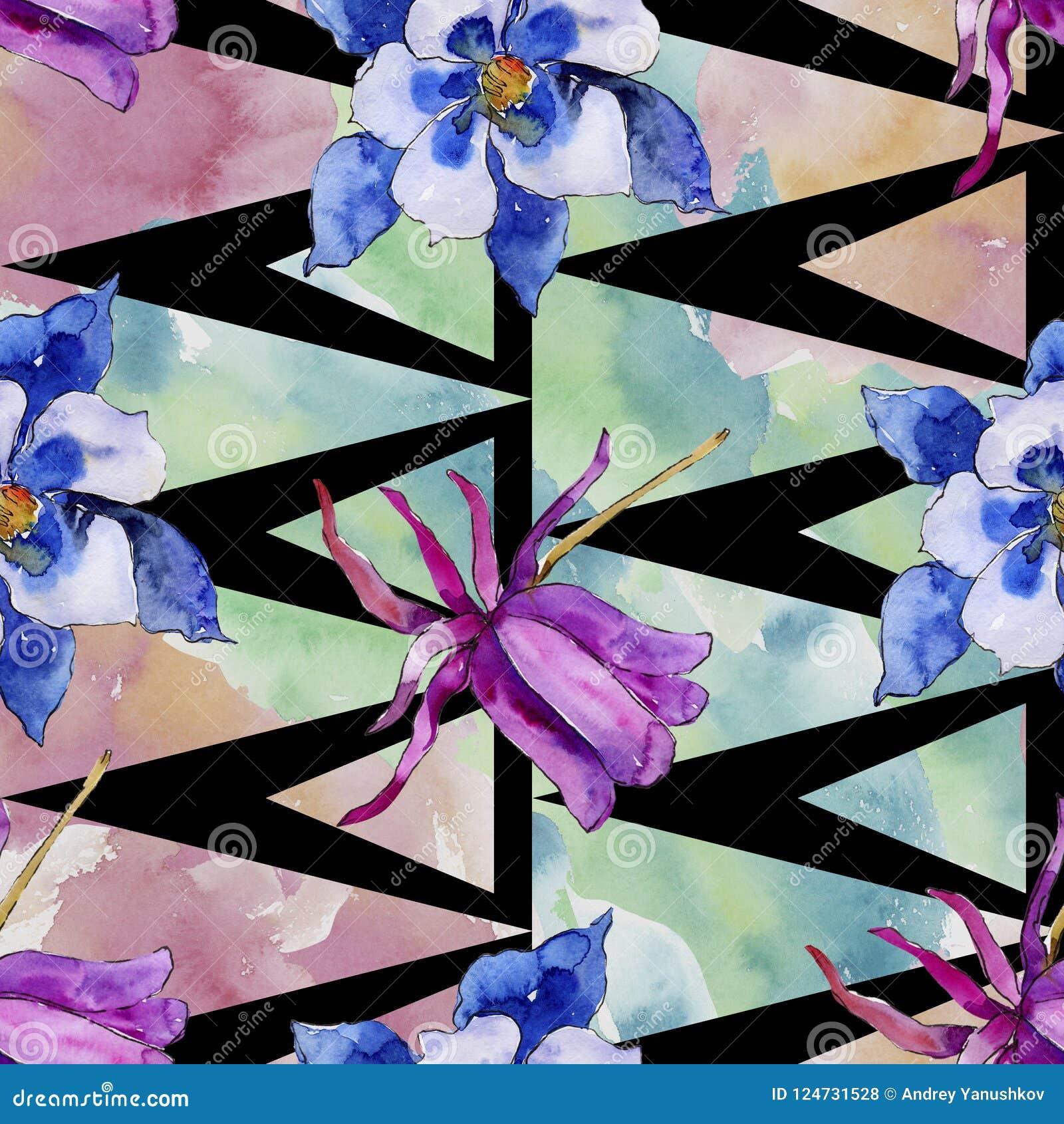 Watercolor blue aquilegia flower. Floral botanical flower. Seamless background pattern.