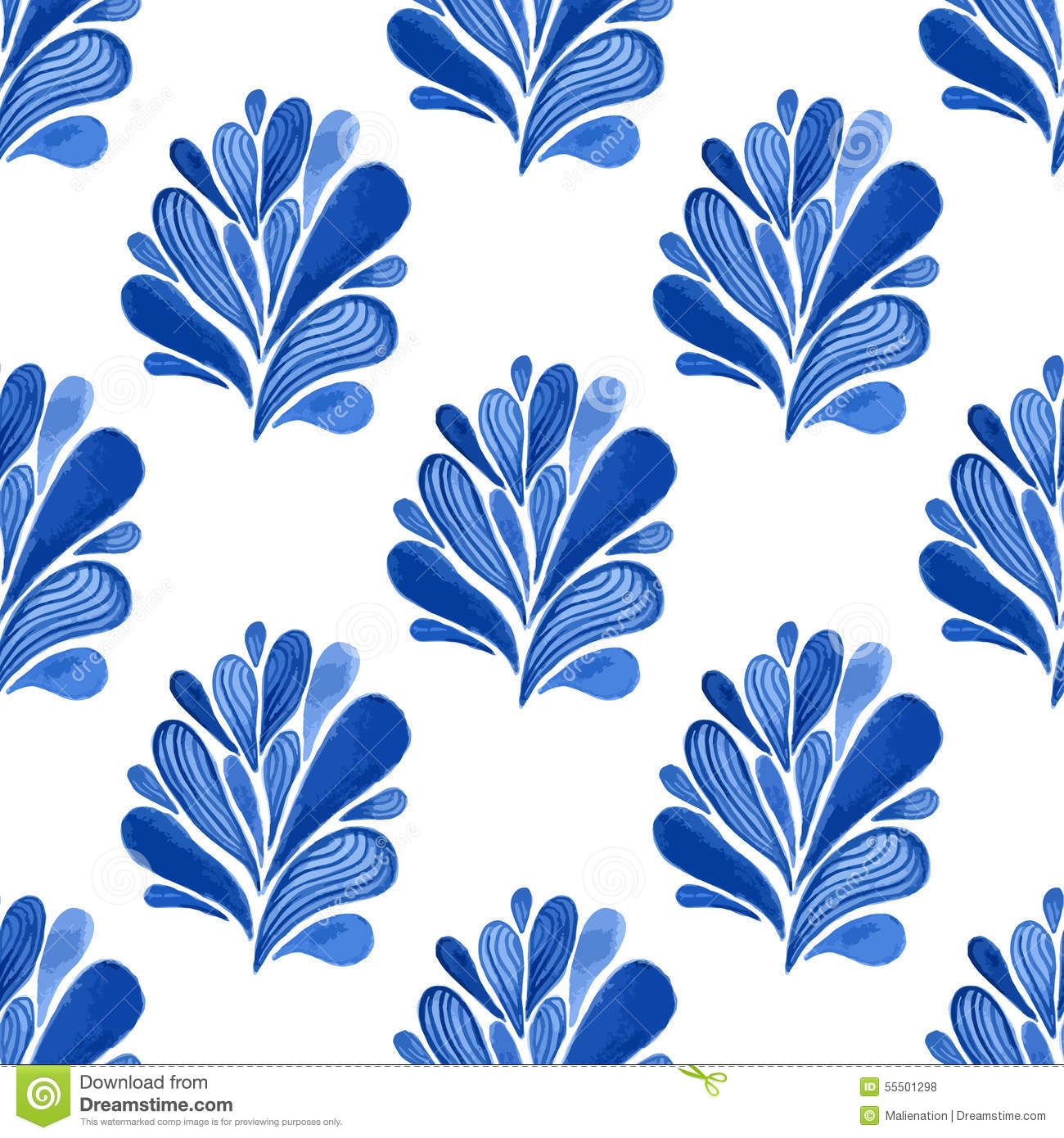 Watercolor Blue Floral Seamless Pattern With Leaves