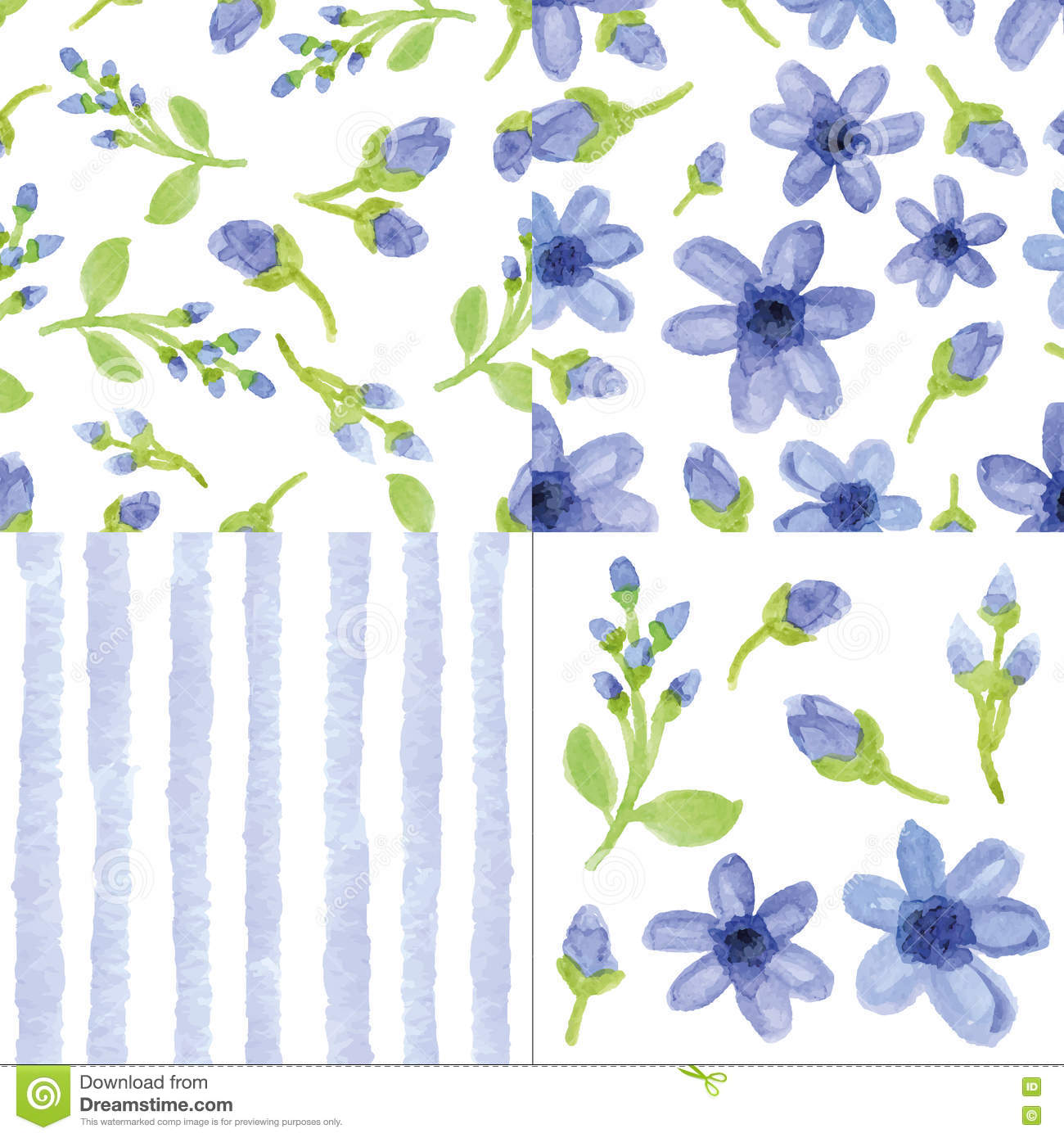 Watercolor Blue Flowers Strips Seamless Pattern Cute Set Stock Vector Illustration Of Hand Female 76027385