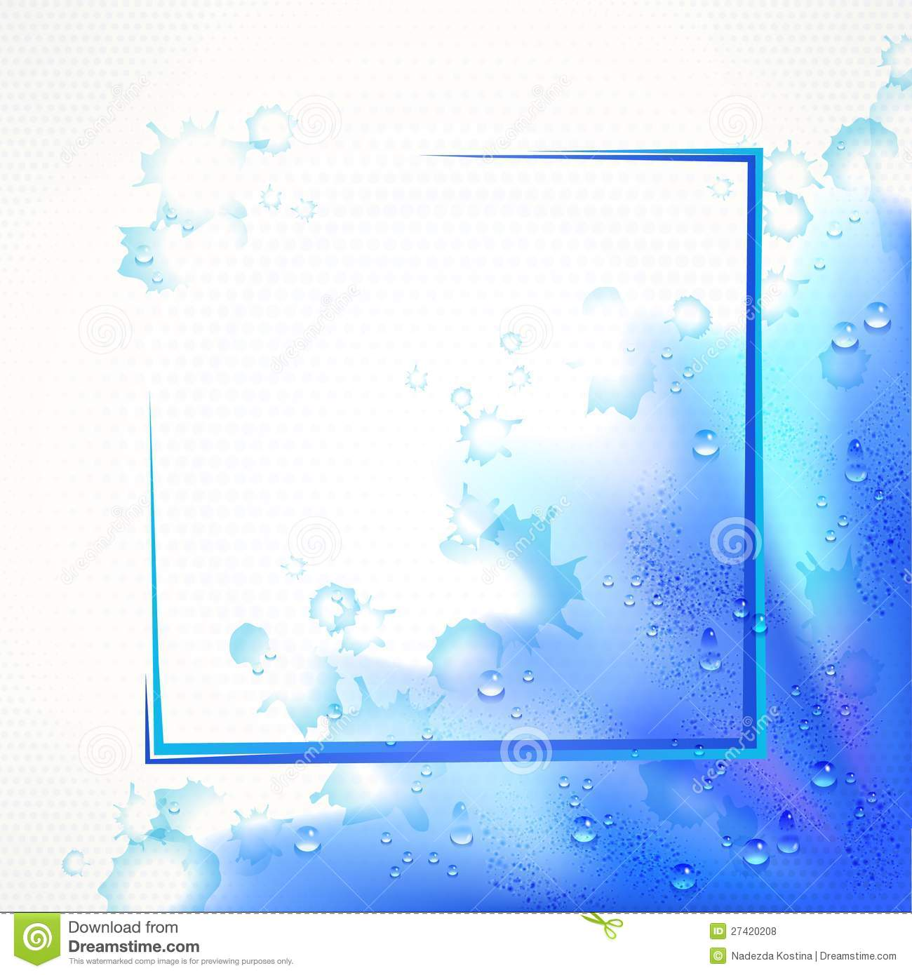 watercolor blue frame border background with drops royalty free stock photos