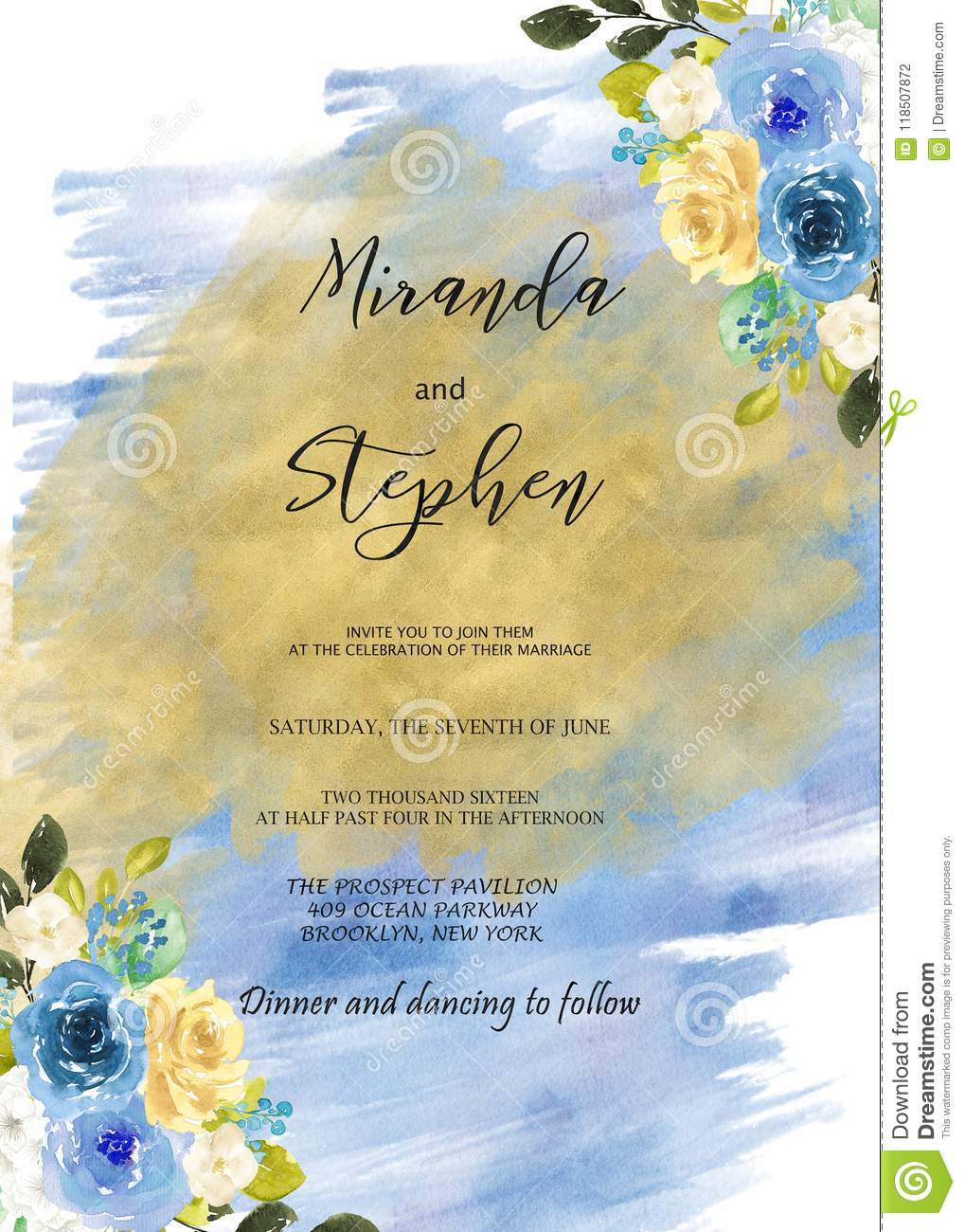 black and blue watercolor wedding invitation template stock