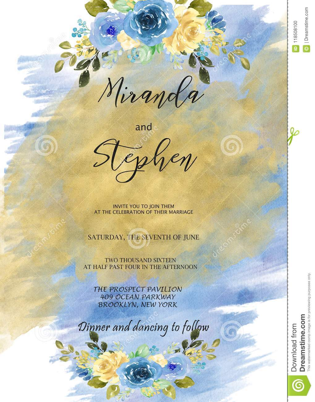 Blue And Gold Watercolor Invitation Template For Weddings