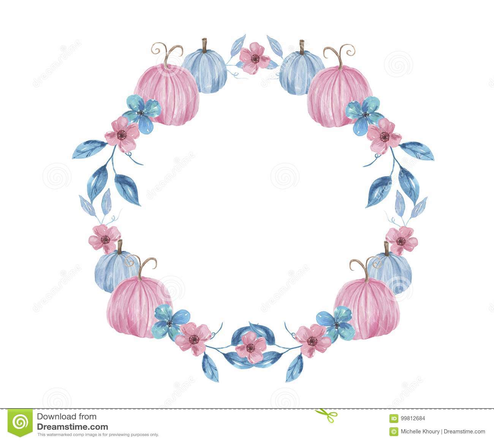 Watercolor Blue Pink Autumn Fallhand Painted Pumpkin Wreath Stock Illustration Illustration Of Invitations Fall 99812684