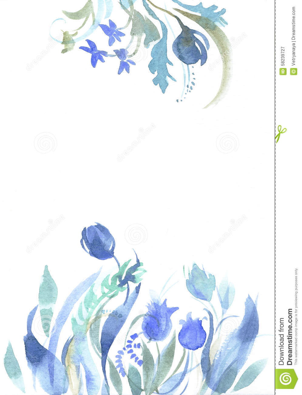 Watercolor Floral Sketch Border Of Fancy Blue Wildflowers Template For Congratulations