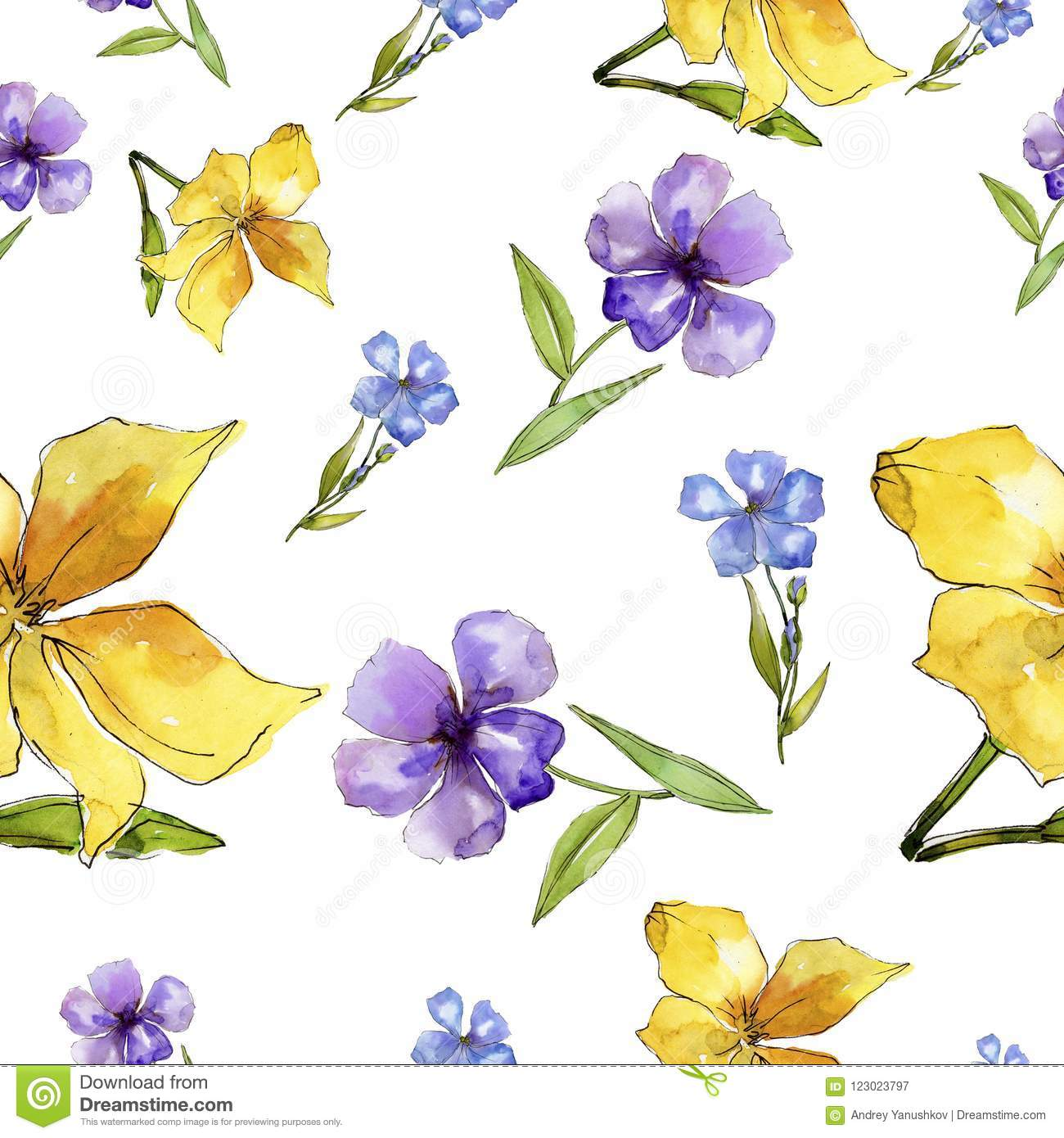 Watercolor Blue And Yellow Flax Flowers Floral Botanical Flower