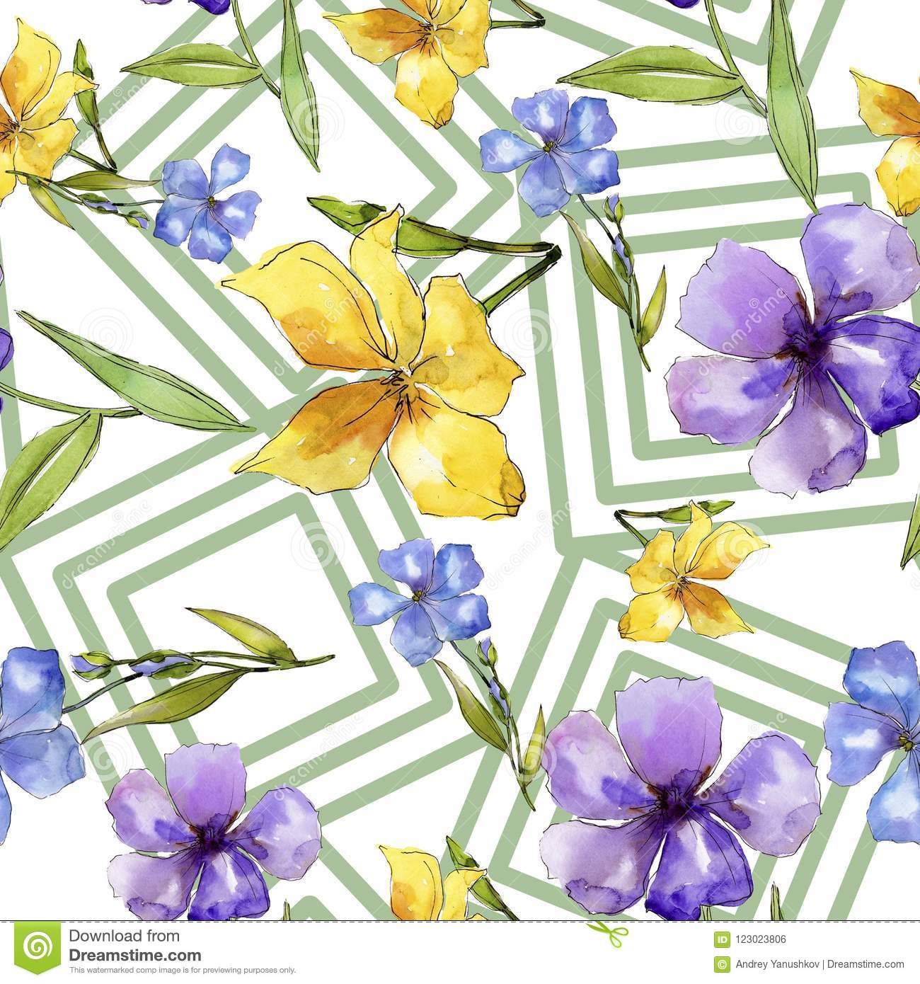 Watercolor blue and yellow flax flowers floral botanical flower download watercolor blue and yellow flax flowers floral botanical flower seamless background pattern mightylinksfo
