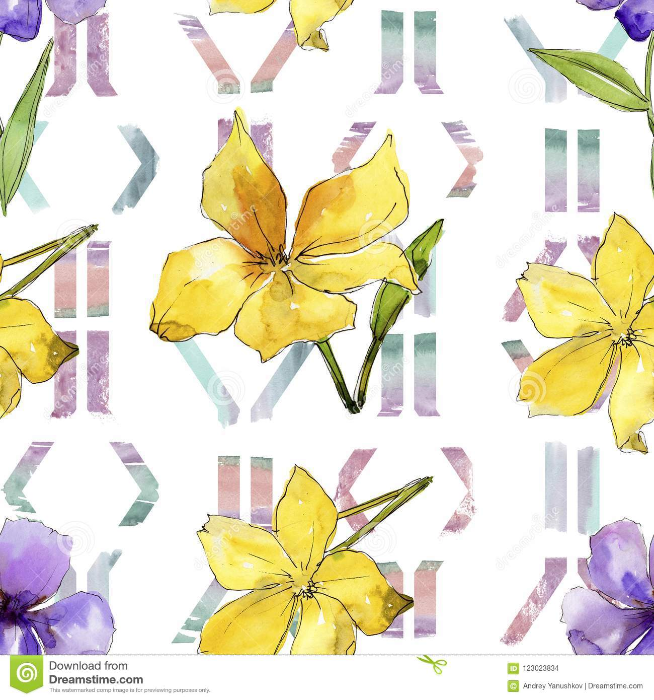 Watercolor blue and yellow flax flowers floral botanical flower watercolor blue and yellow flax flowers floral botanical flower seamless background pattern mightylinksfo