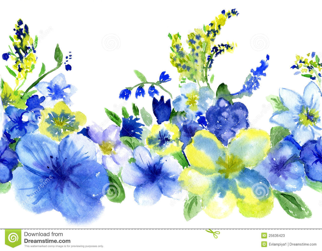 Watercolor Blue And Yellow Flowers
