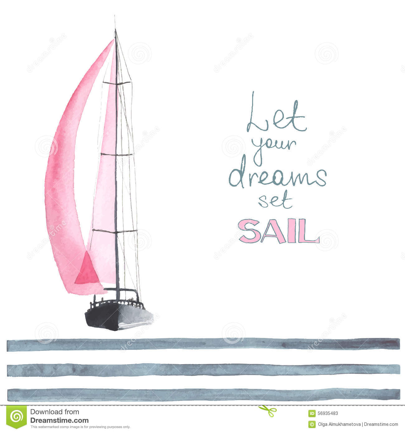 Watercolor Boat With Sails Stock Vector - Image: 56935483