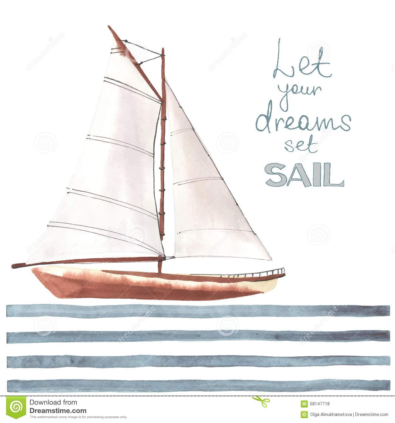 Watercolor Boat With Sails Stock Vector Image 58147718