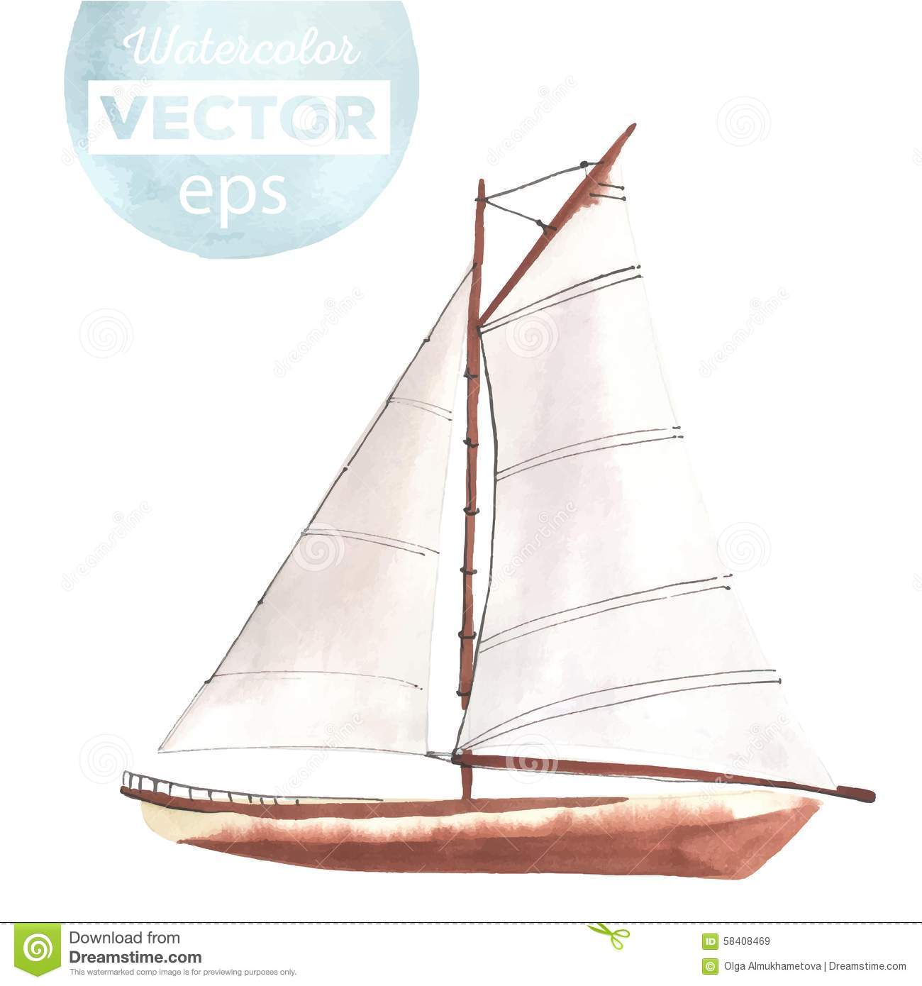 Watercolor Boat With Sails Stock Vector - Image: 58408469
