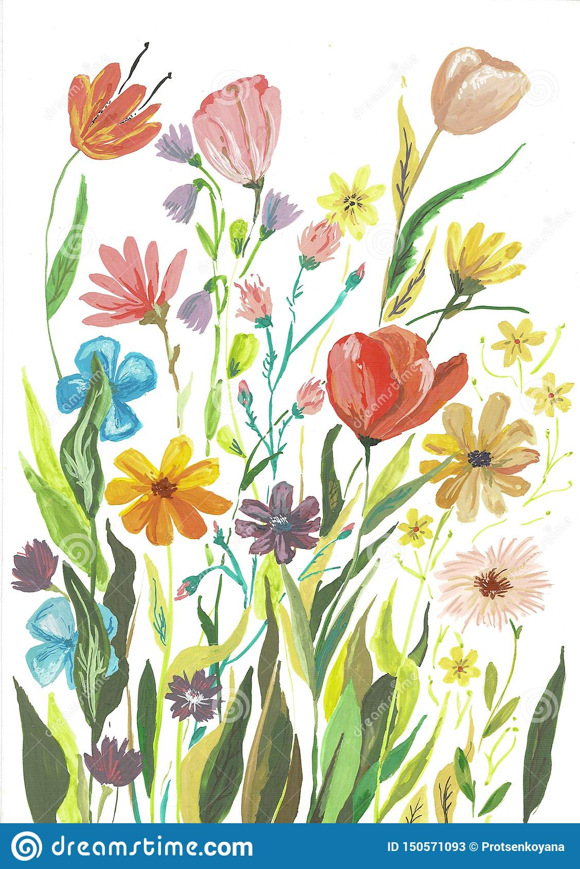 Watercolor Boho Burgundy Red Magenta White Pink Floral Bouquet Flowers And Feathers Isolated Stock Illustration Illustration Of Orange Greenery 150571093