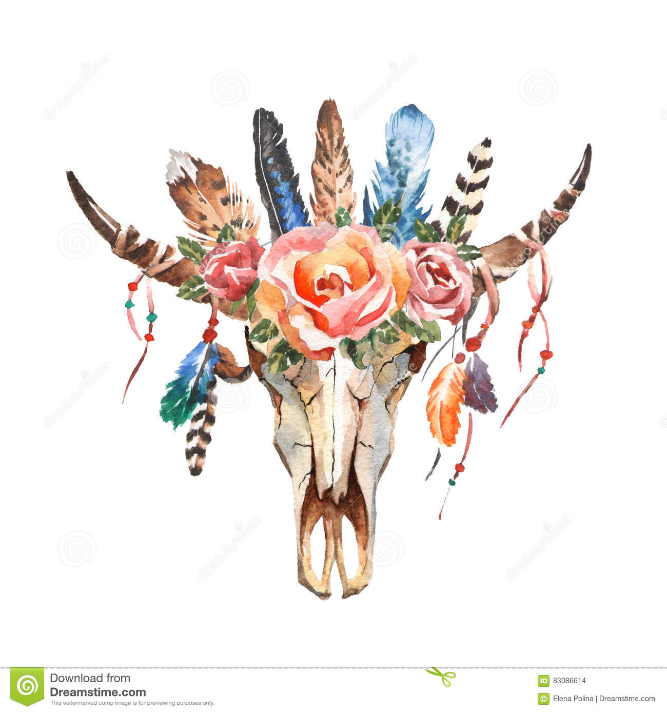 Watercolor Boho Chic Image Flowers Feathers Animal Elements
