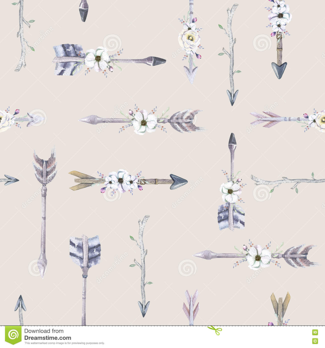 watercolor boho seamless pattern with teepee arrows and feather