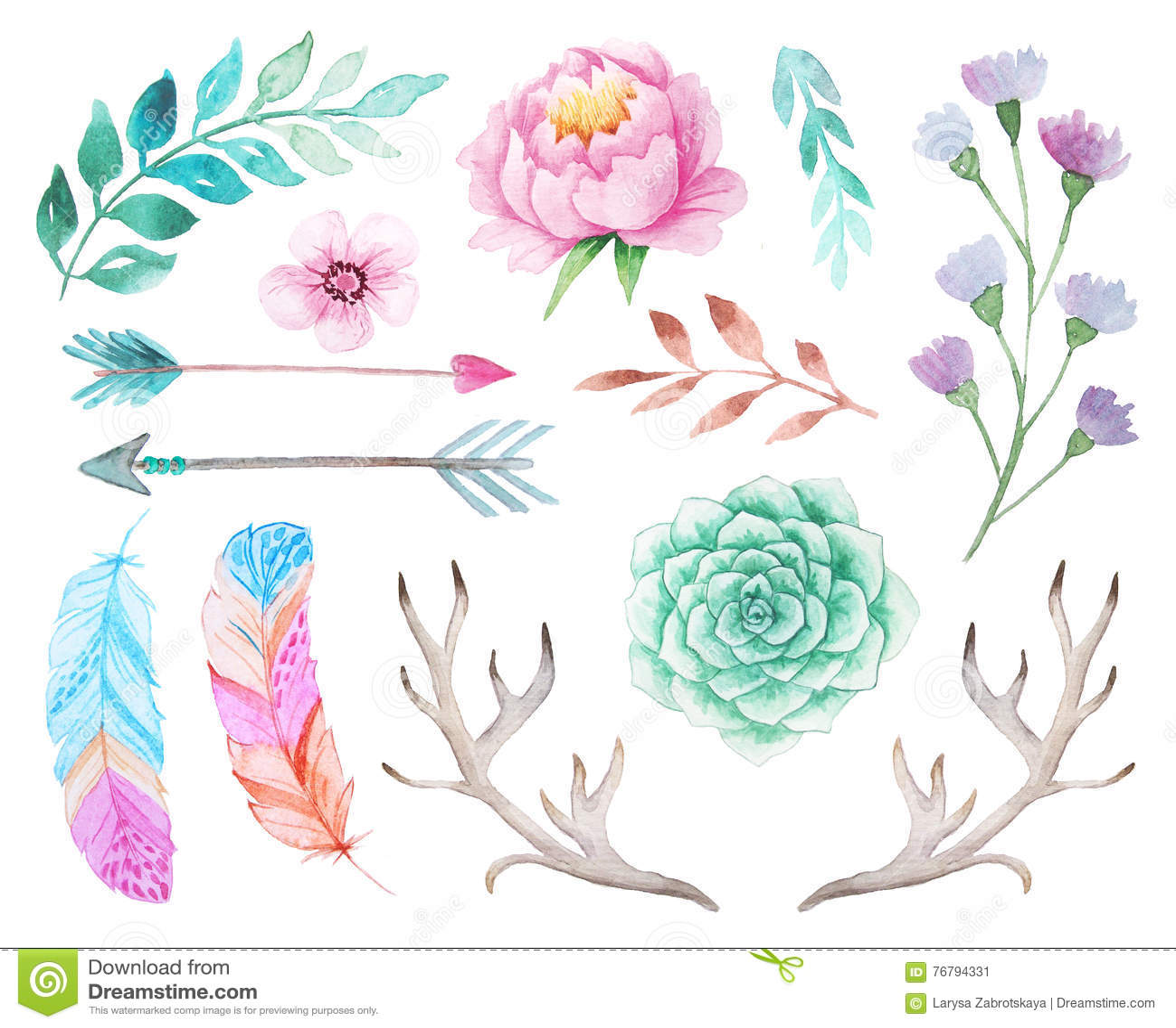 Dark Red Roses Flowers Watercolor Botanical Art Boho: Hand Painted Watercolor Flowers Clip Art Set. Royalty-Free