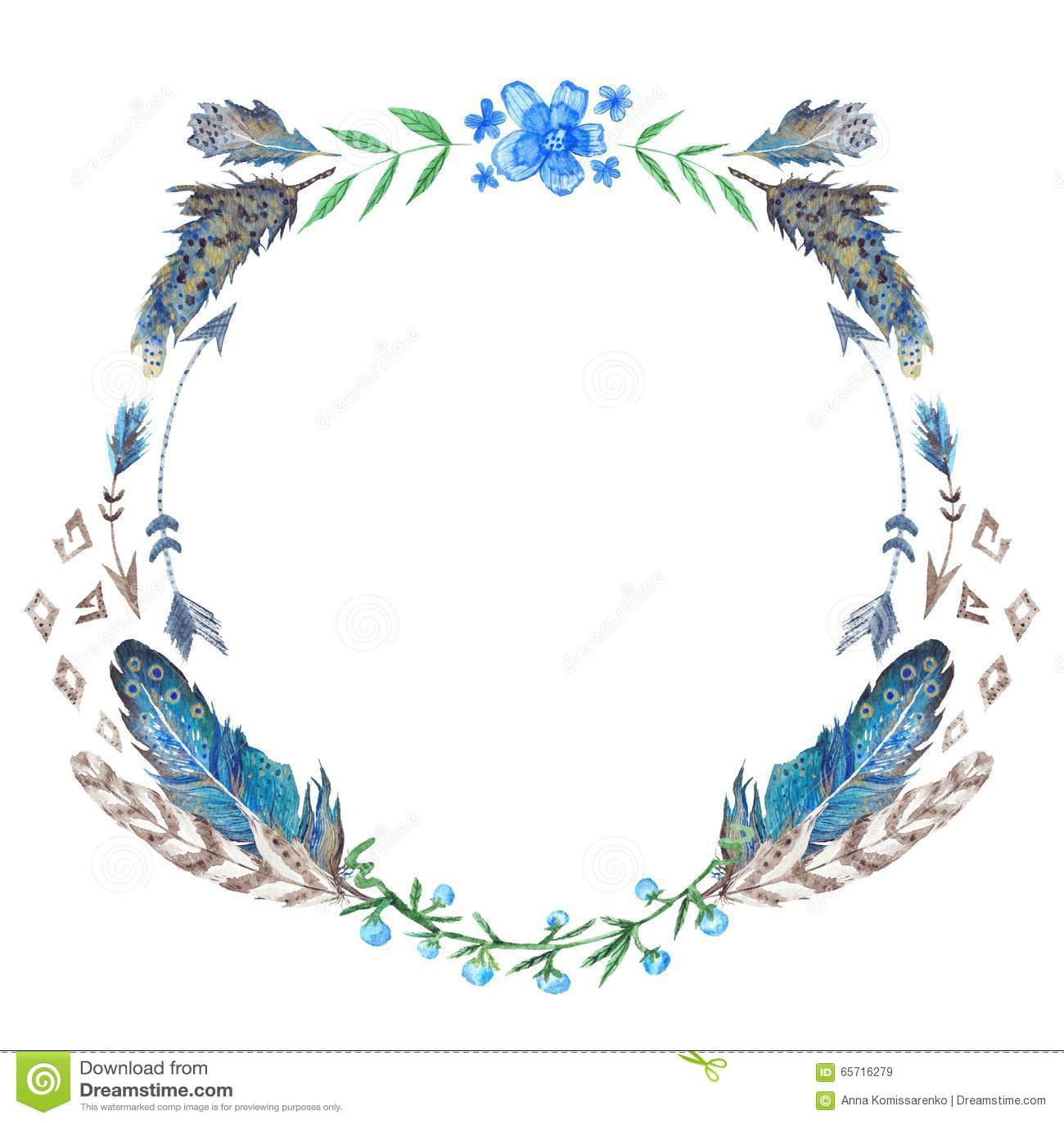 Watercolor Boho Wreath Stock Photo - Image: 65716279